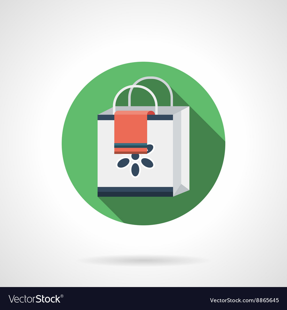Shopping bag round flat color icon
