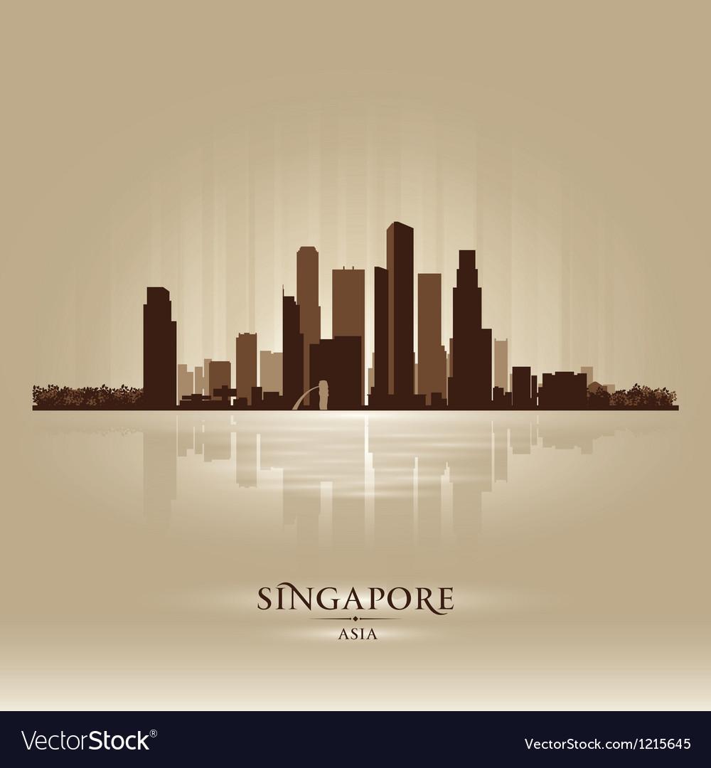 Singapore Asia skyline city silhouette vector image
