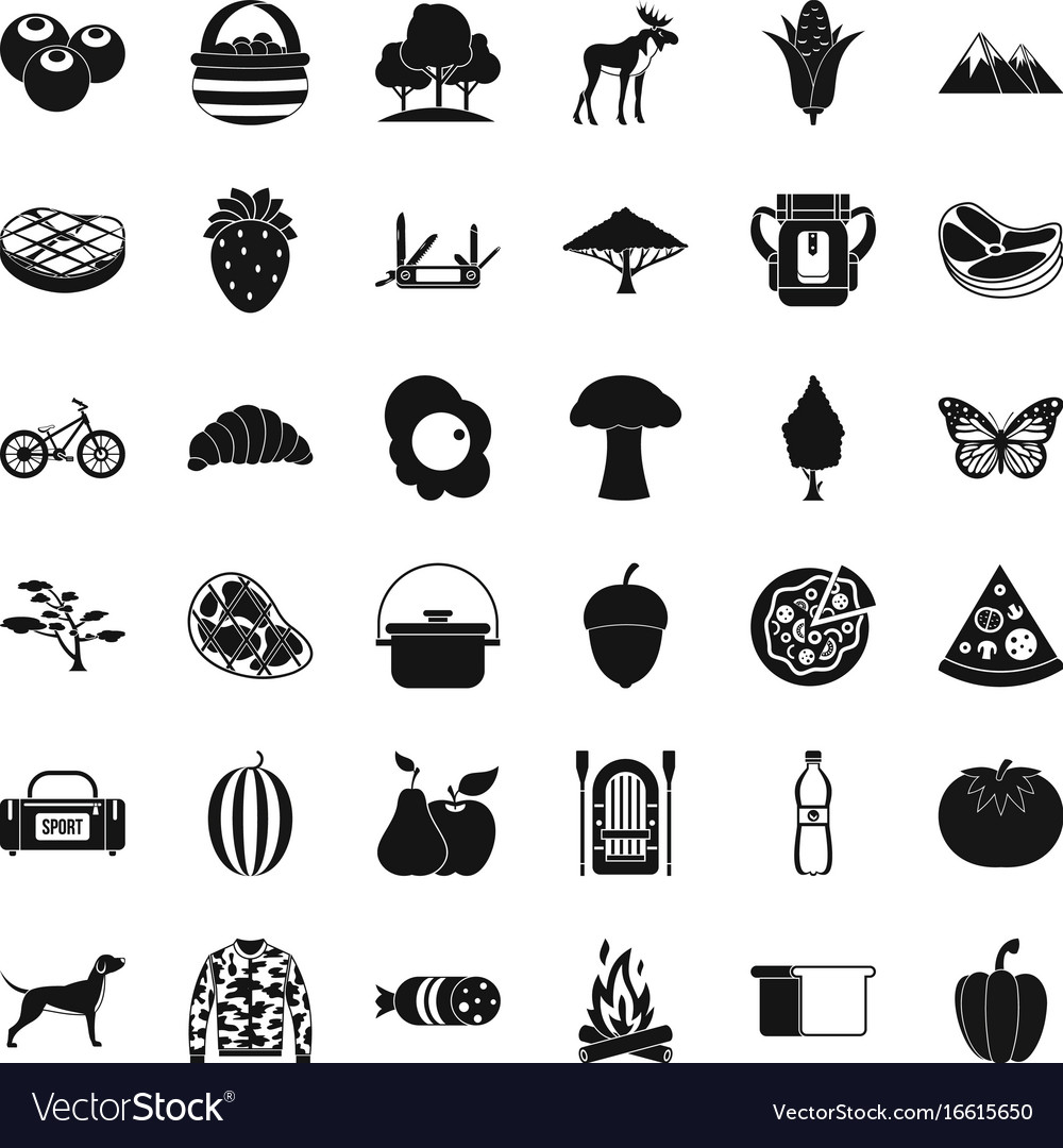 Camping in nature icons set simple style vector image
