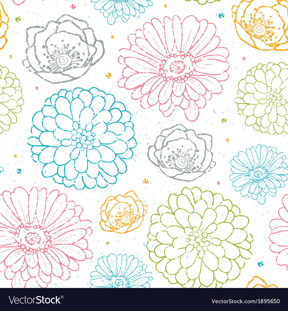 Chalk flowers colorful seamless pattern background
