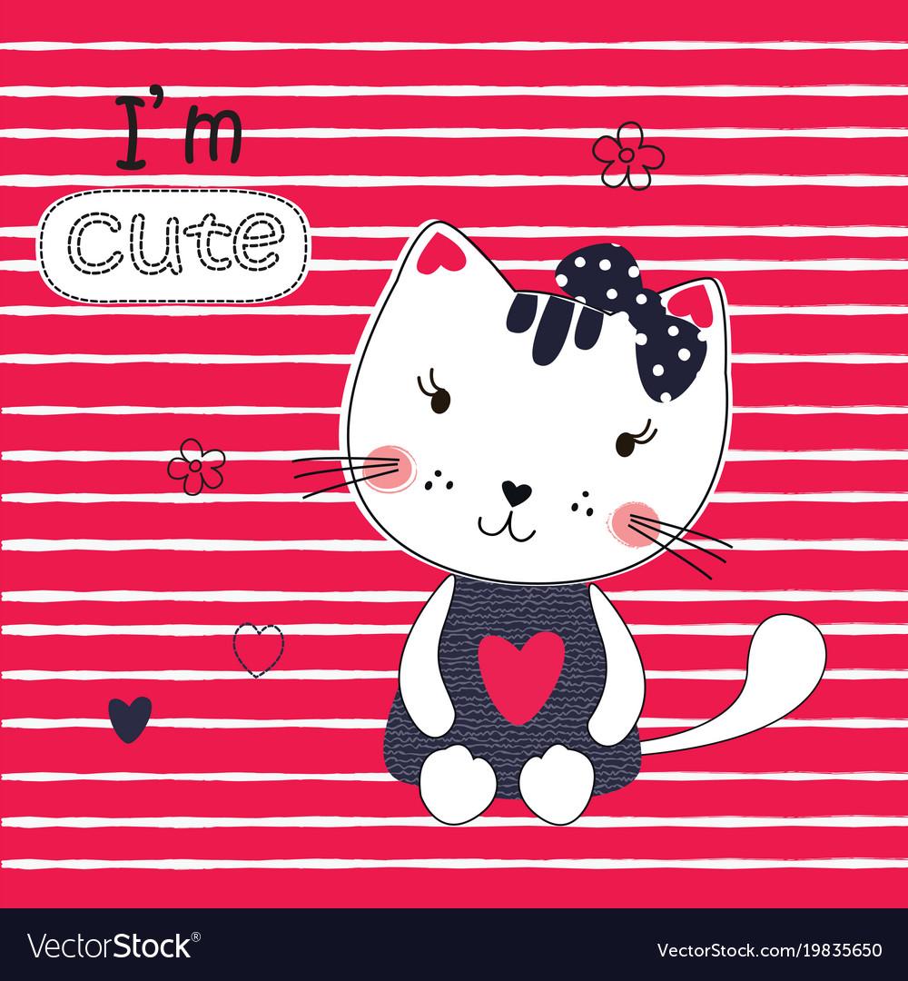 Cute with funny cartoon cat