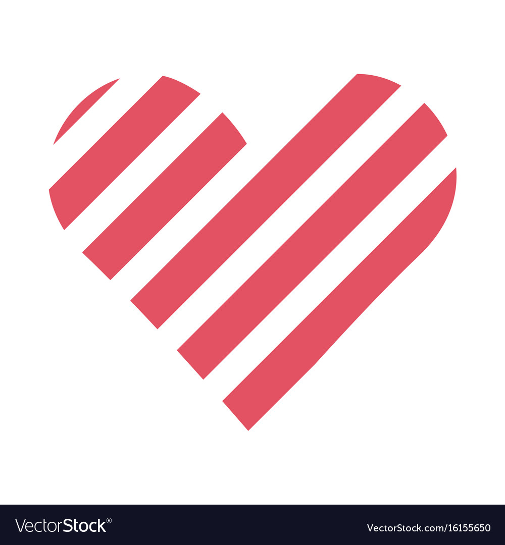 Flat color love heart icon vector image