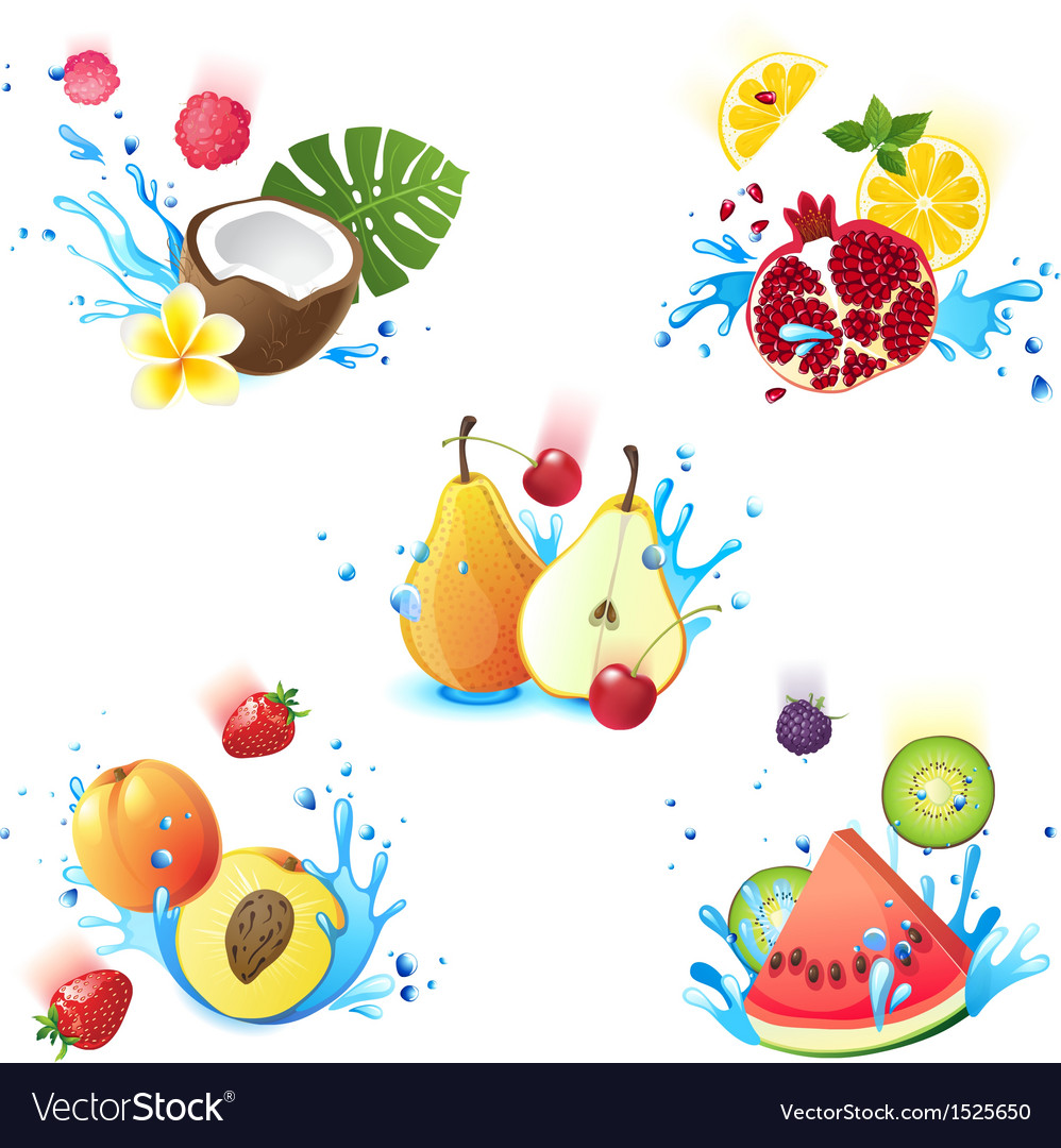 Fruits in splashes