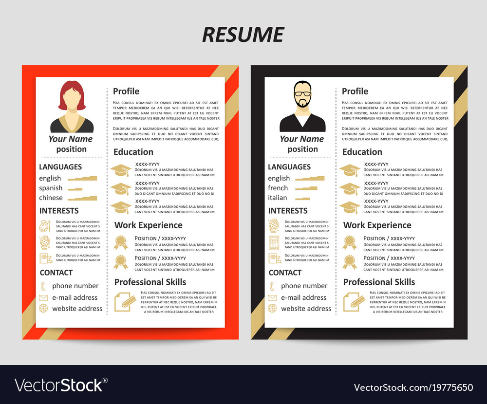Male And Female Resume Templates With Flat Vector Image