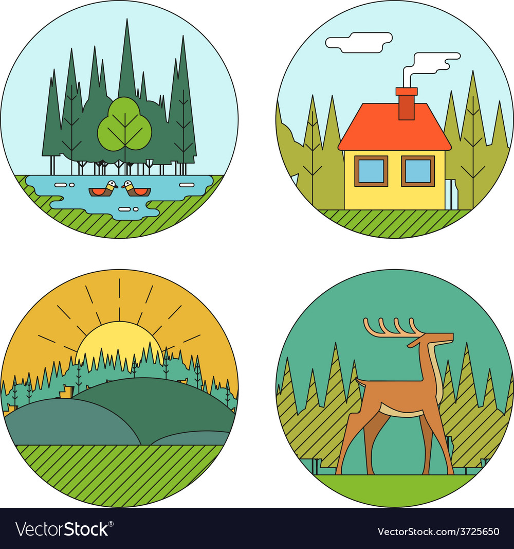 Outdoor Life Symbol Lake Forest House Deer Duck