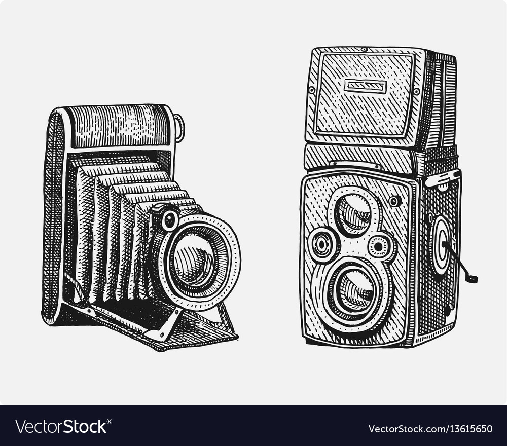Photo camera set vintage engraved hand drawn in