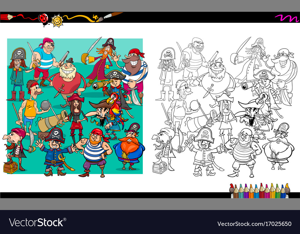 Pirate characters group coloring book