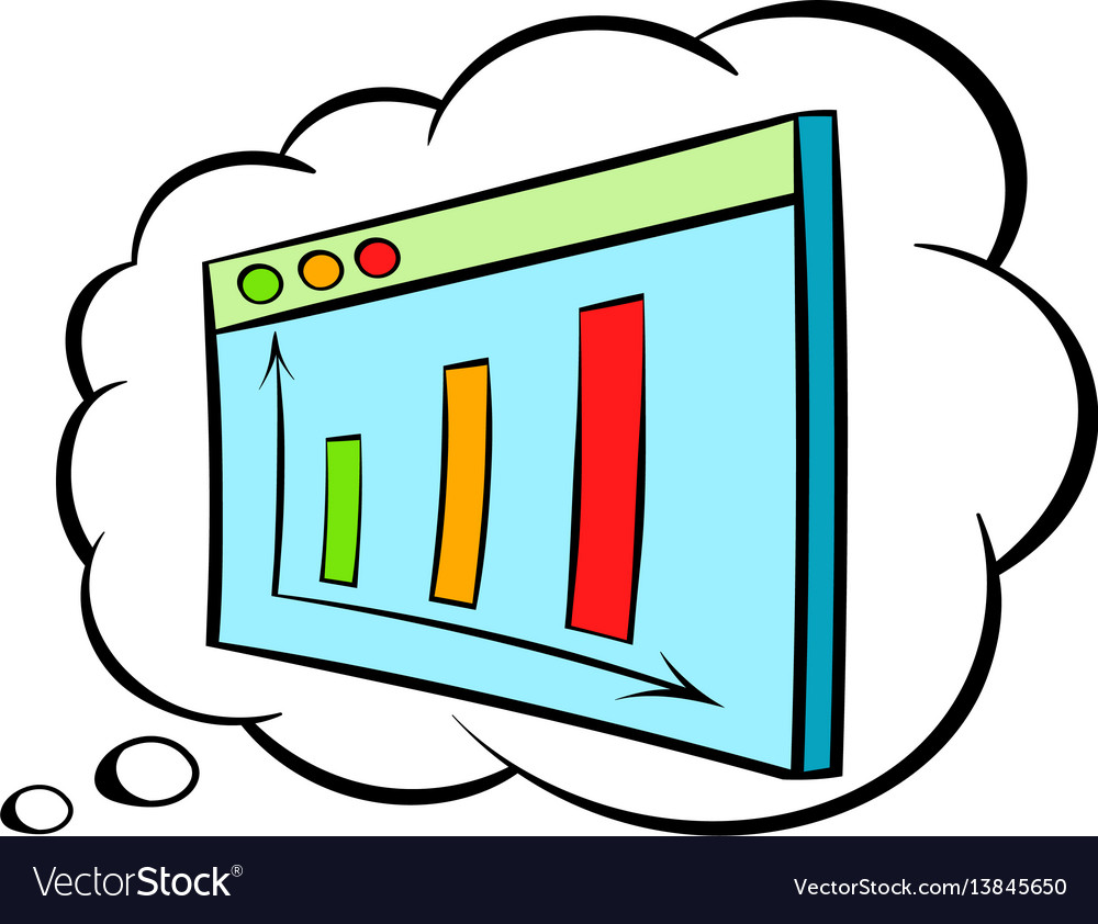 Screen with graph in speech cloud icon cartoon