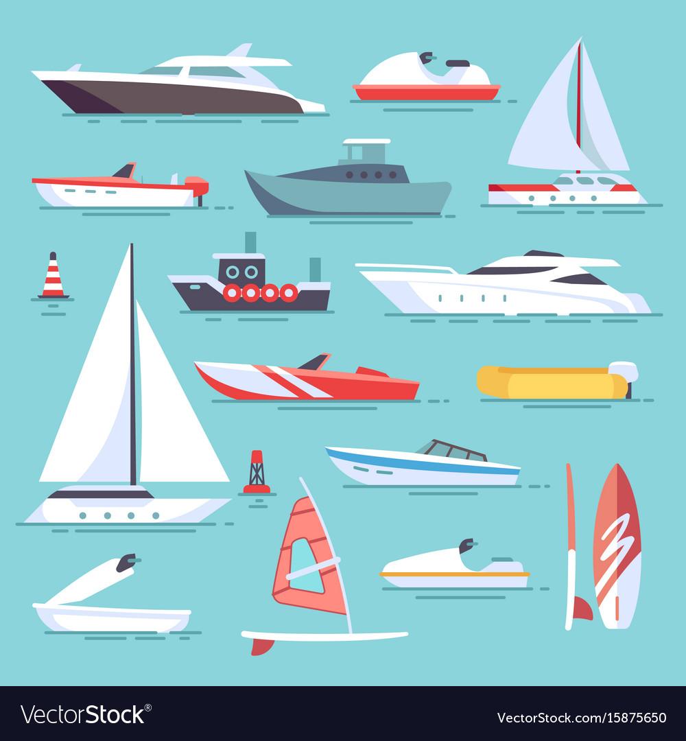 Sea boats and little fishing ships sailboats flat