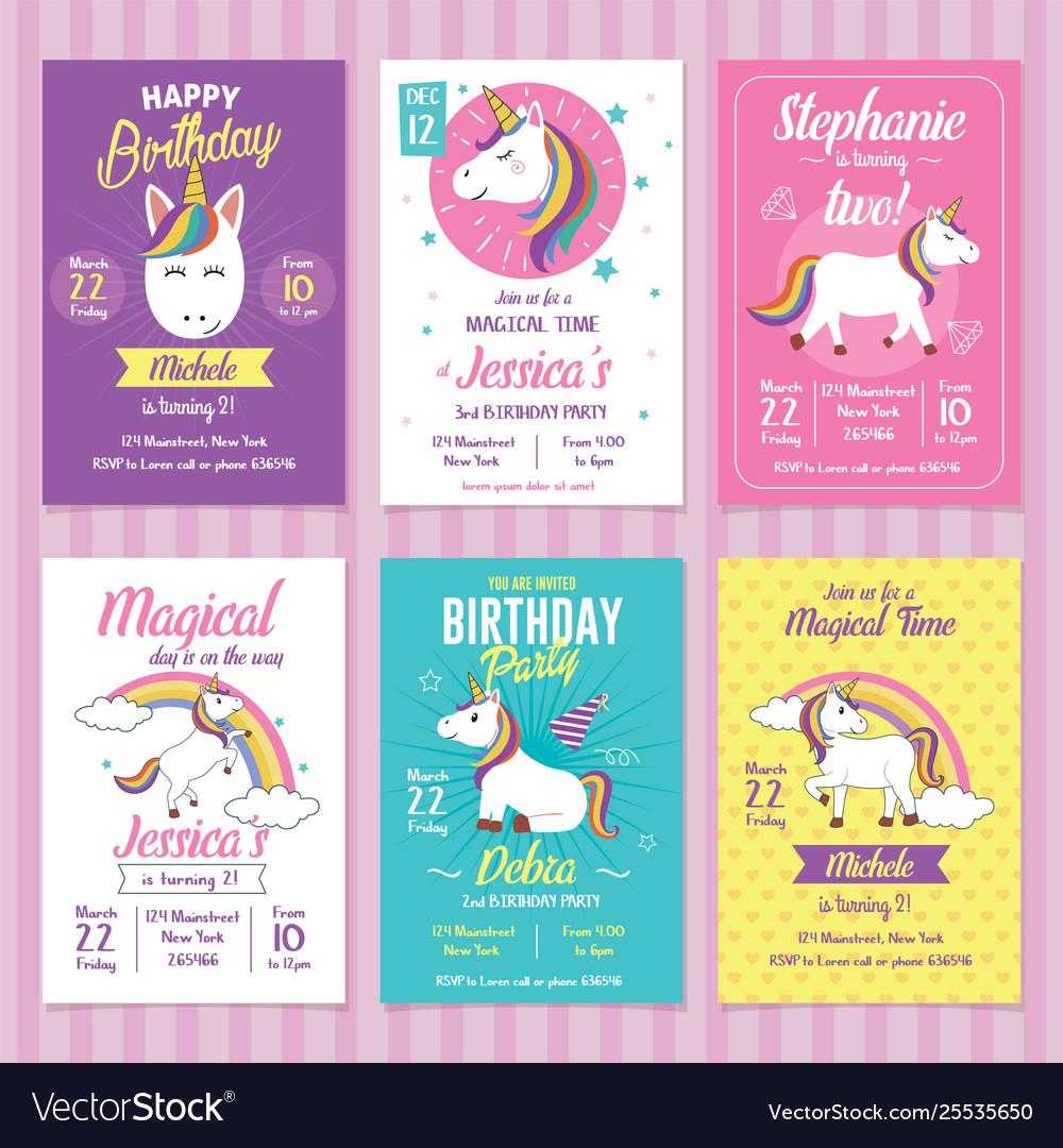Set Unicorn Birthday Invitation Cards