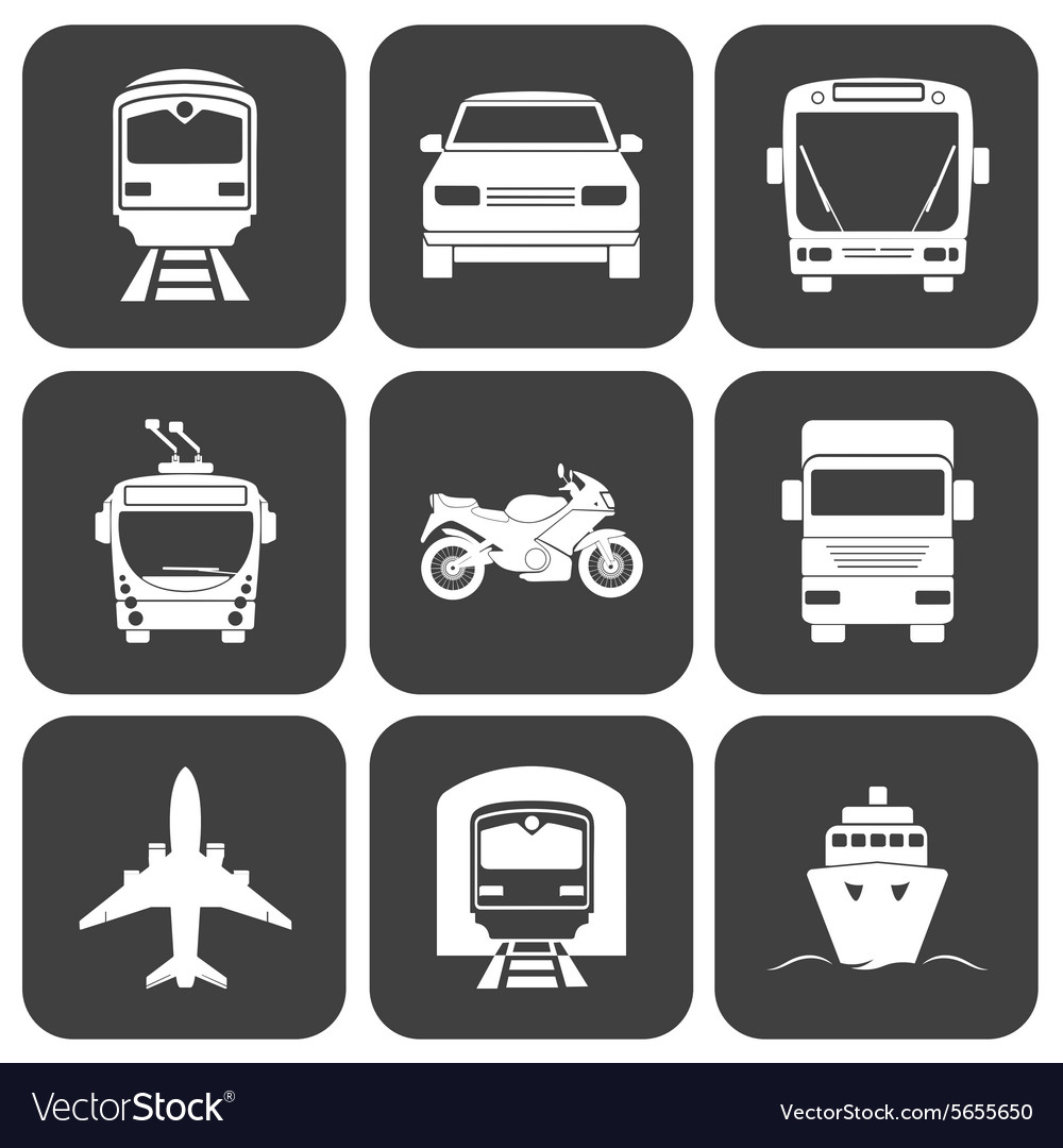 Simple monochromatic transport icons set