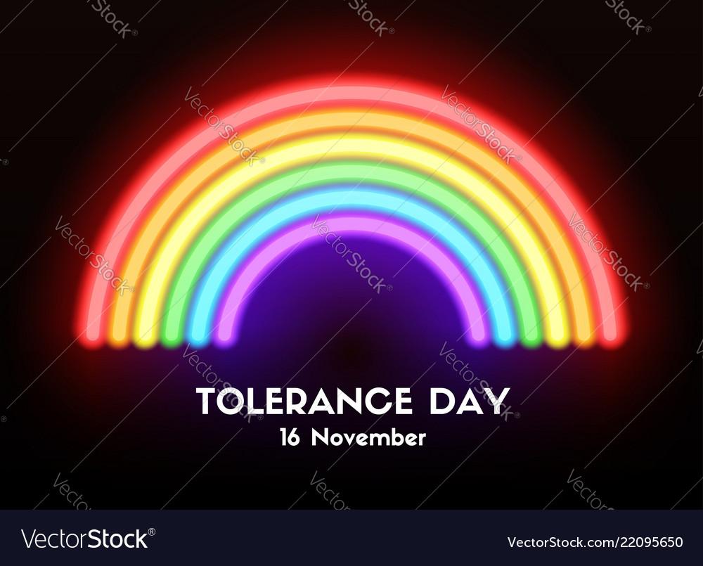 Tolerance day card neon glowing rainbow