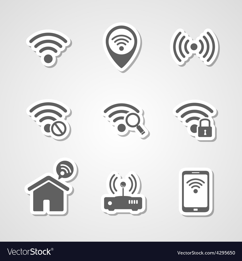 Wireless local network internet access point icons vector image
