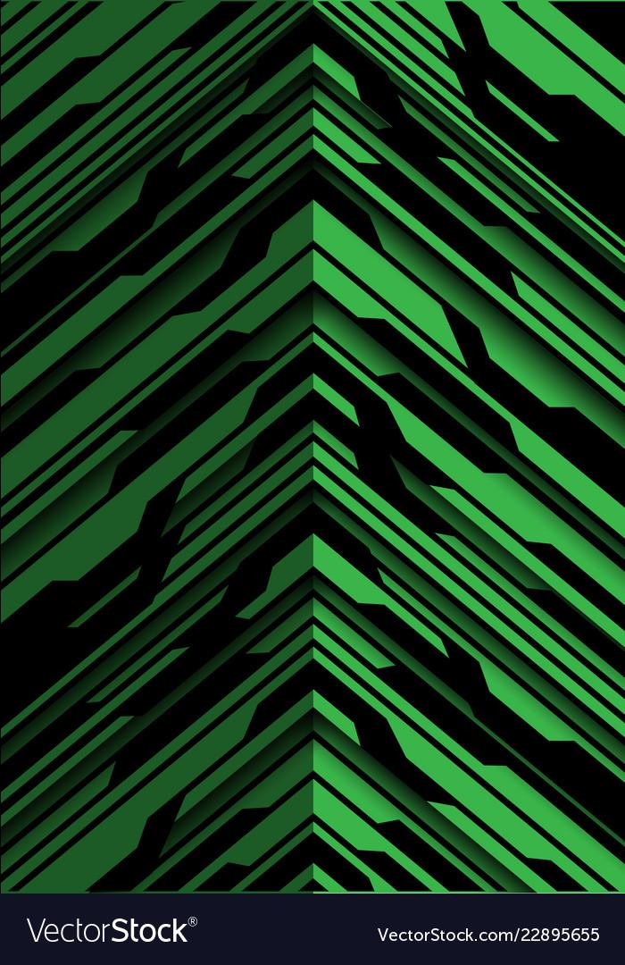 Abstract green black arrow circuit direction