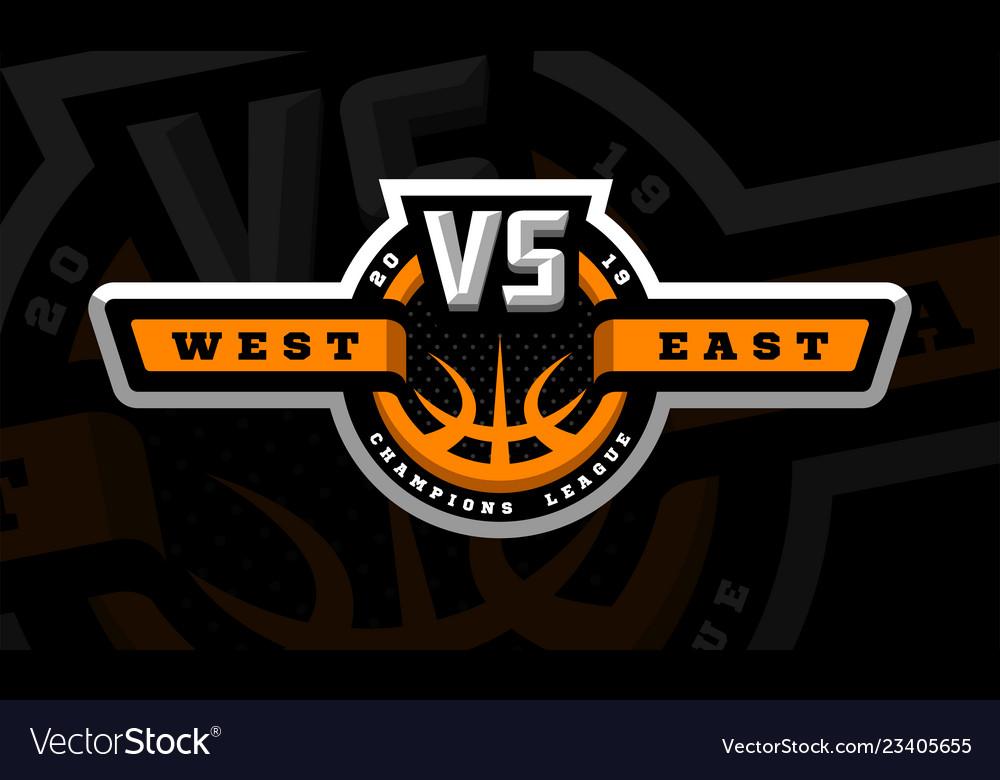 Basketball vs sports logo emblem on a dark