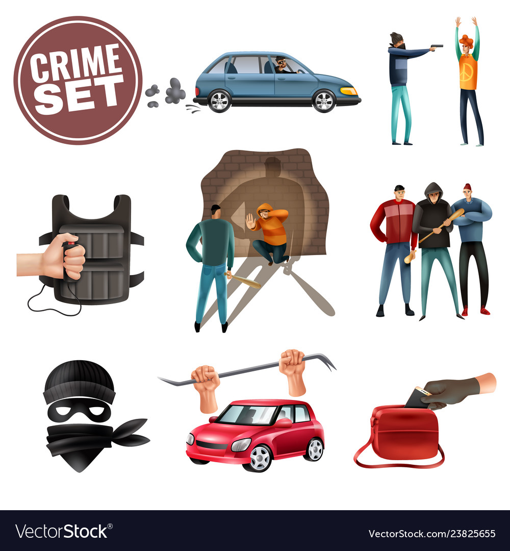 Crime violence aggression icons set
