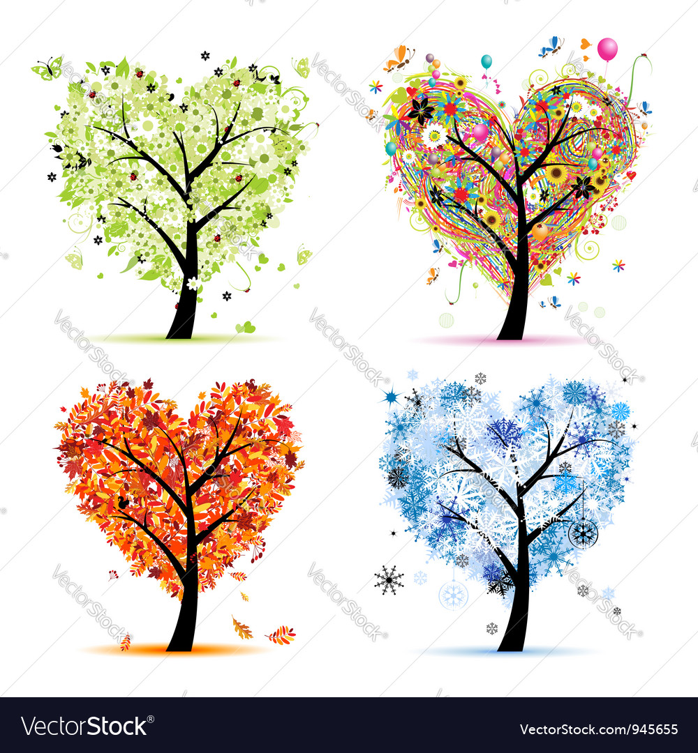 four seasons trees spring summer autumn winter vector image. Black Bedroom Furniture Sets. Home Design Ideas