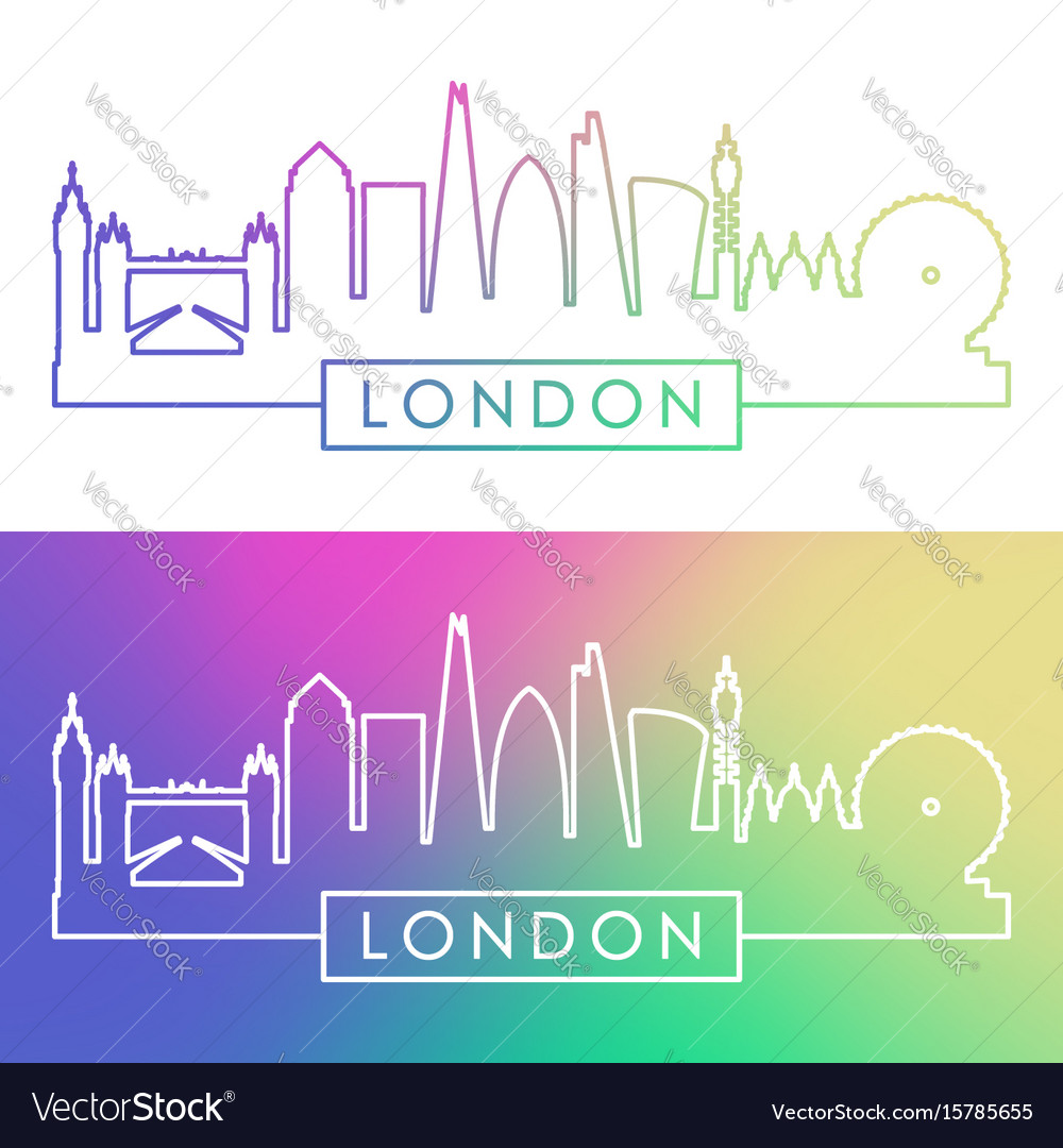 London skyline colorful linear style editable