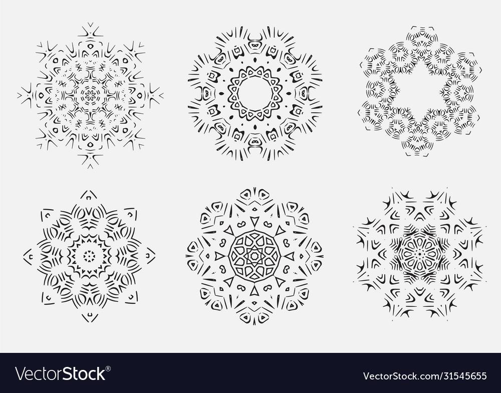 Mandala burst lined vintage shapes