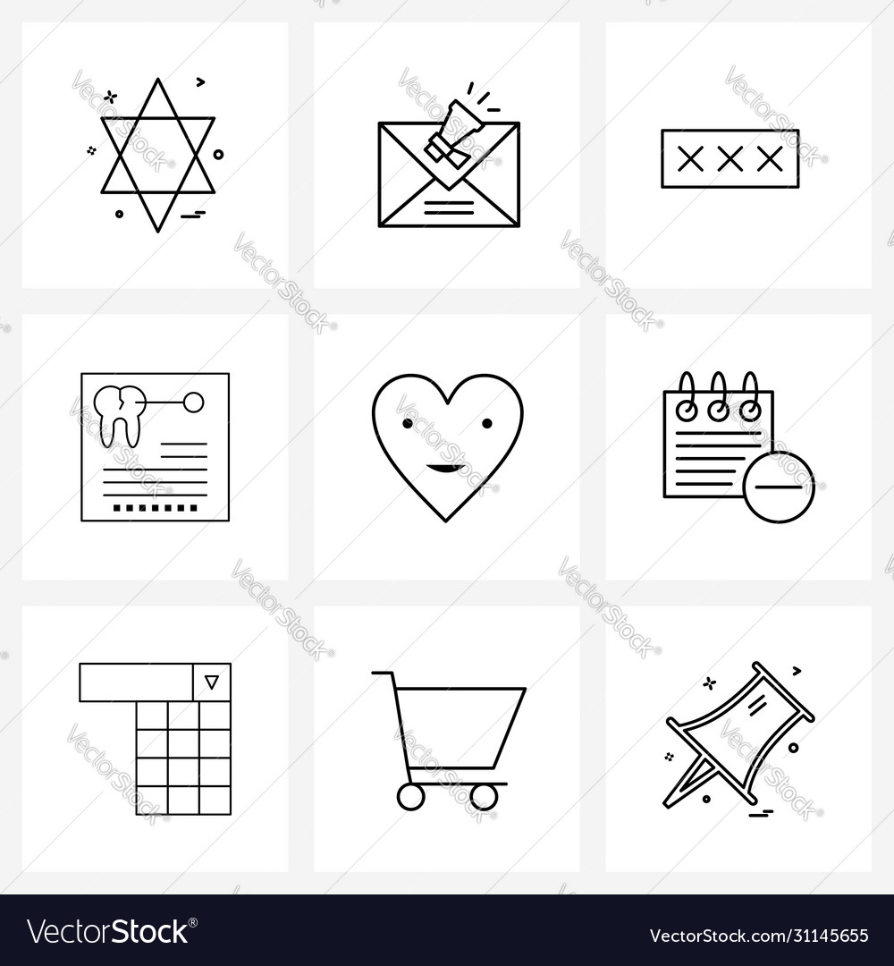 Modern style set 9 line pictograph grid based