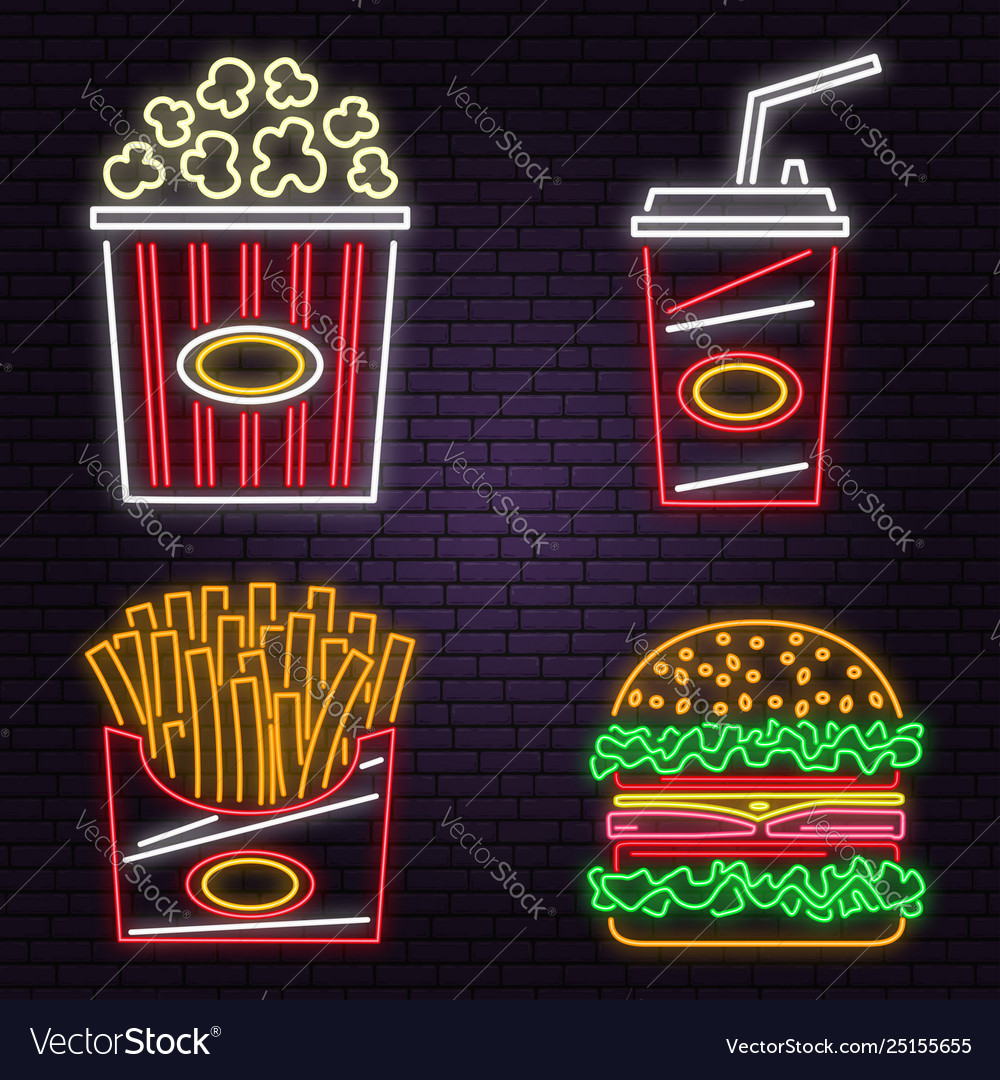 Retro neon burger cola popcorn and french fries