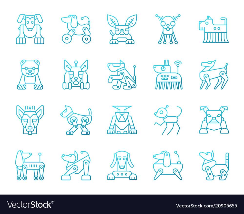 Robot dog simple color line icons set