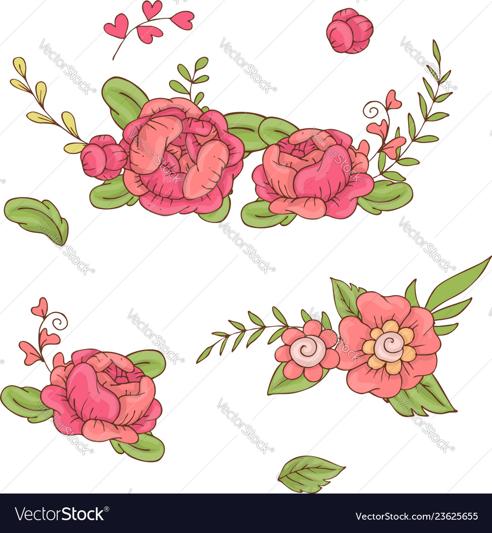 Set floral bouquets retro flowers