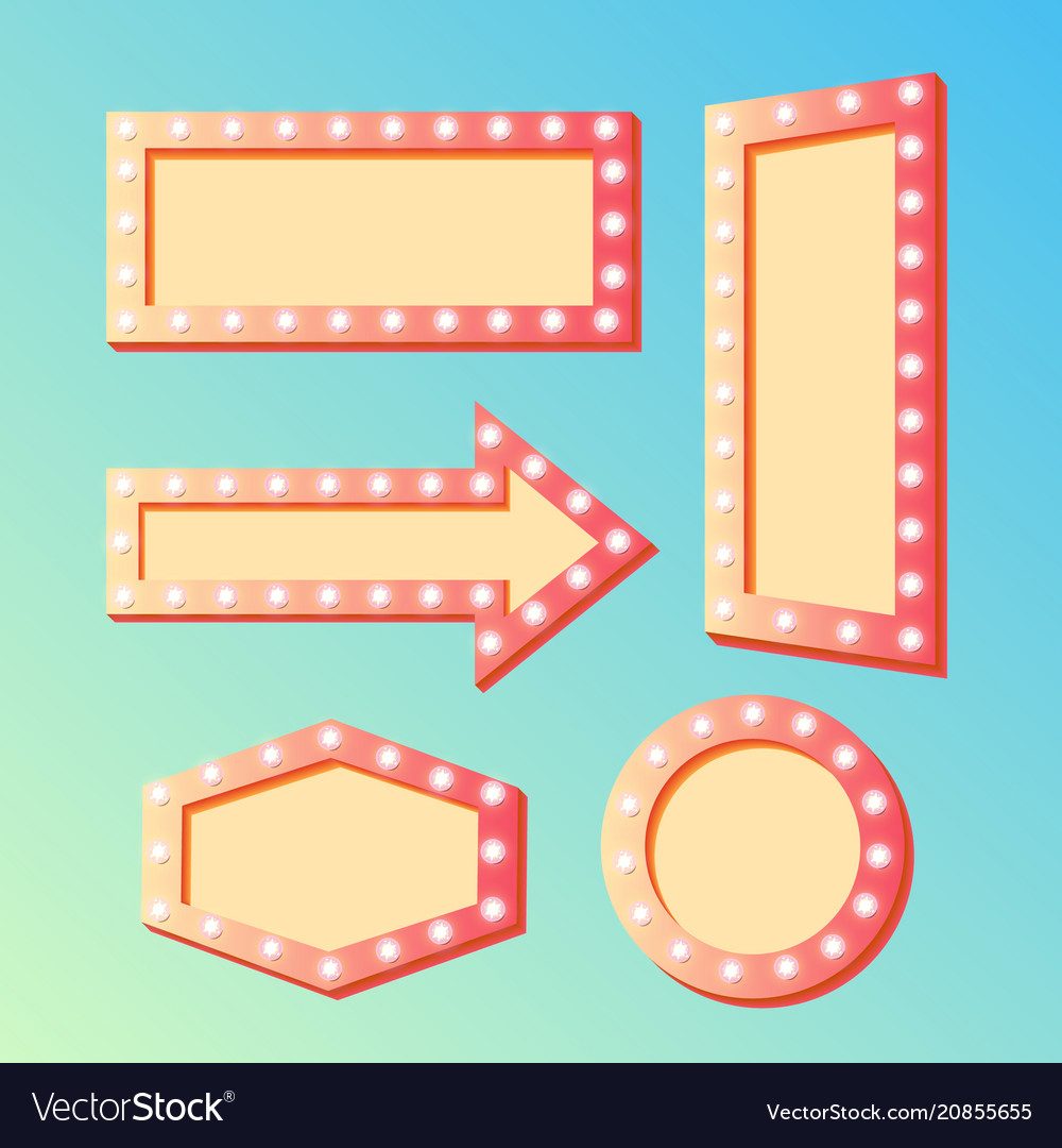 Shining retro light banners set - frames with