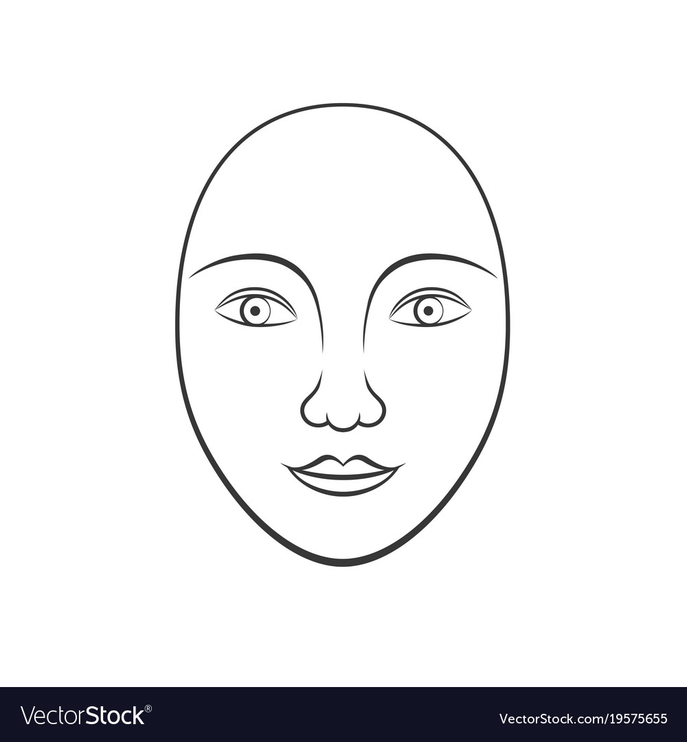 Simple human face line art