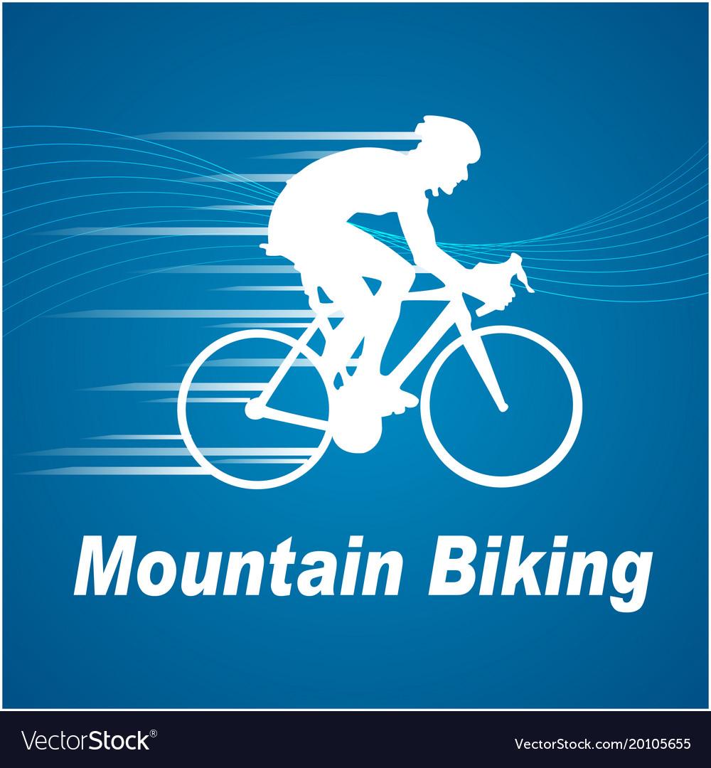 Sport mountain biking blue background image