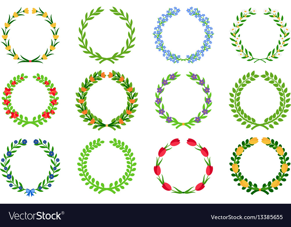 Spring green floral wreaths vector image