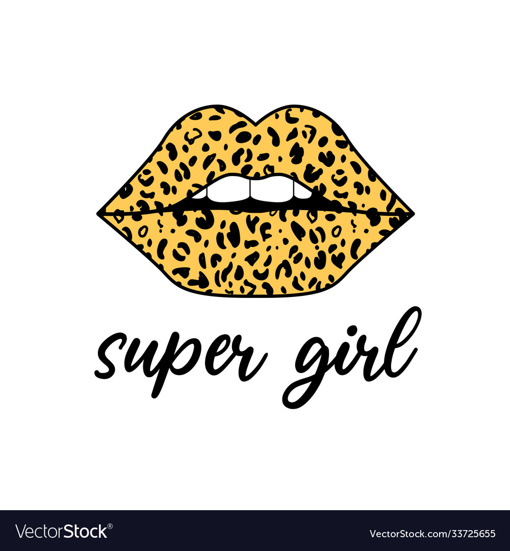 Supergirl slogan and lip wit leopard seamless