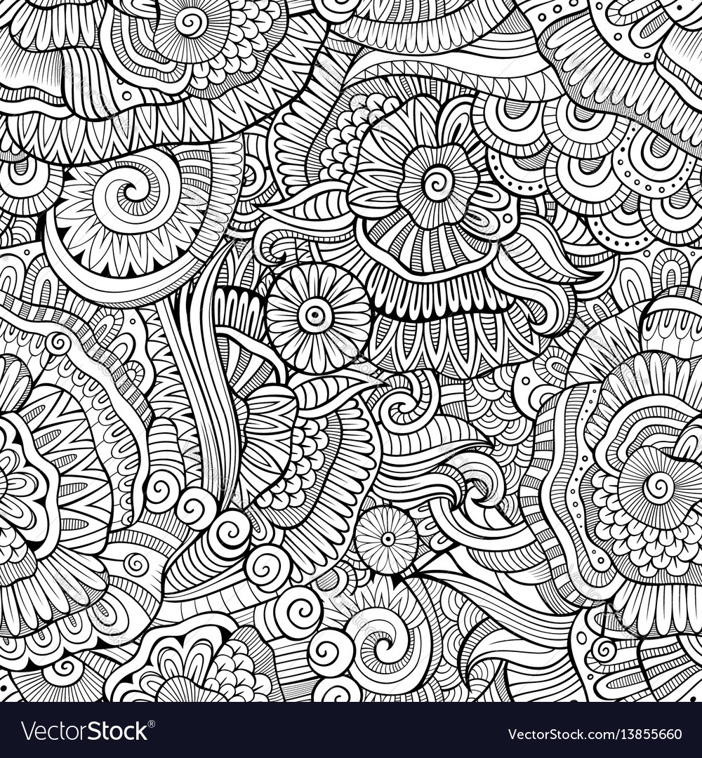 Abstract hand drawn nature floral seamless vector image