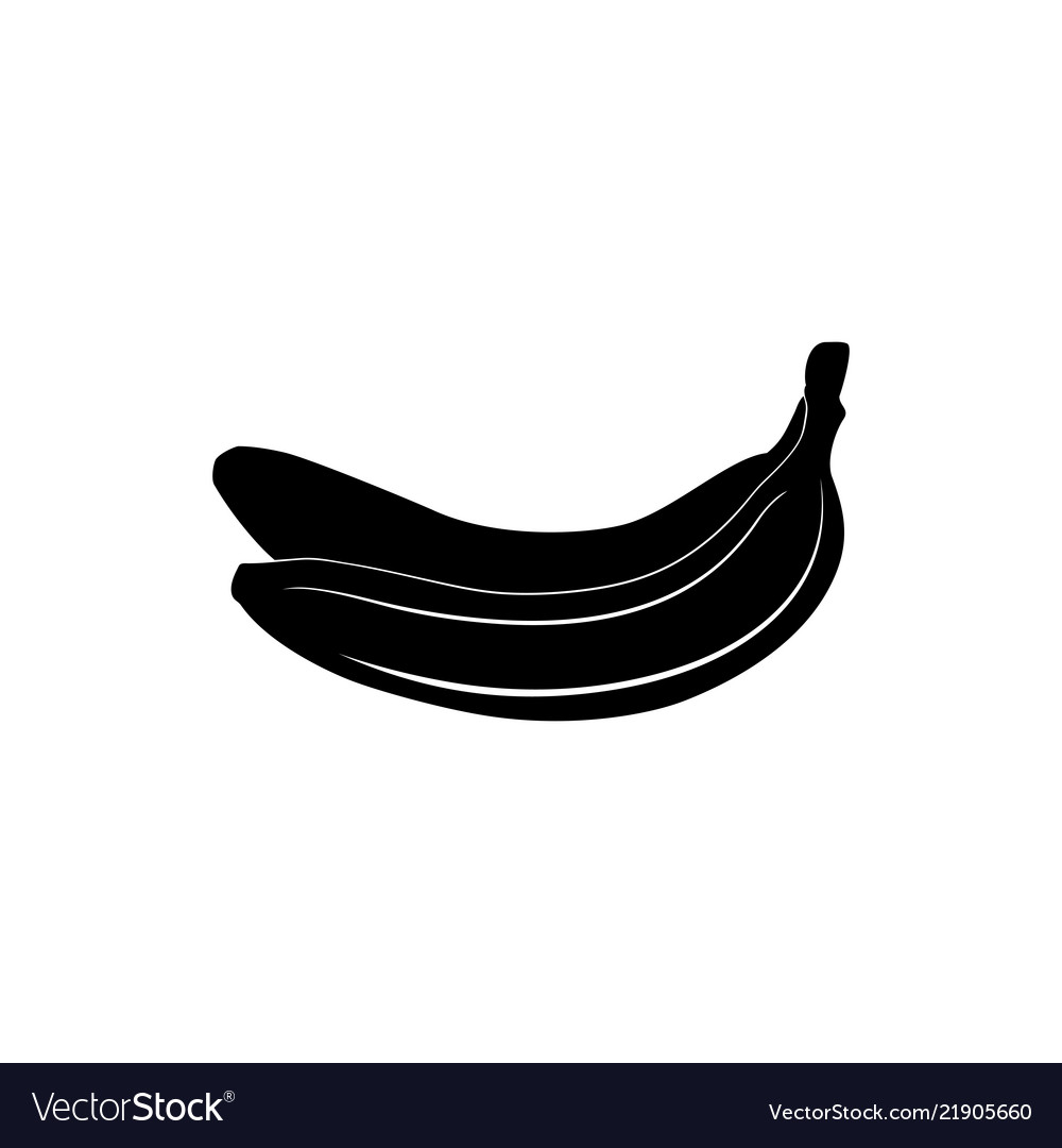 Banana silhouette. Black of