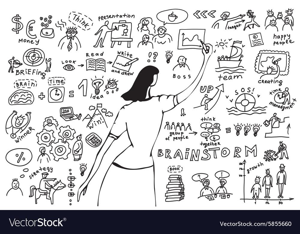 Business woman doodles presentation