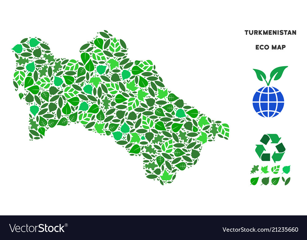 Ecology green collage turkmenistan map
