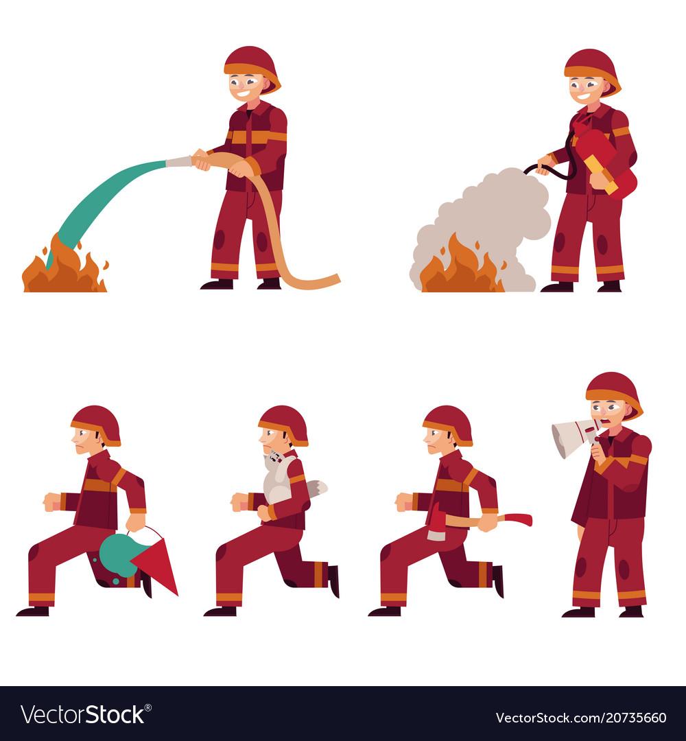Fireman extinguishing fire set isolated on white