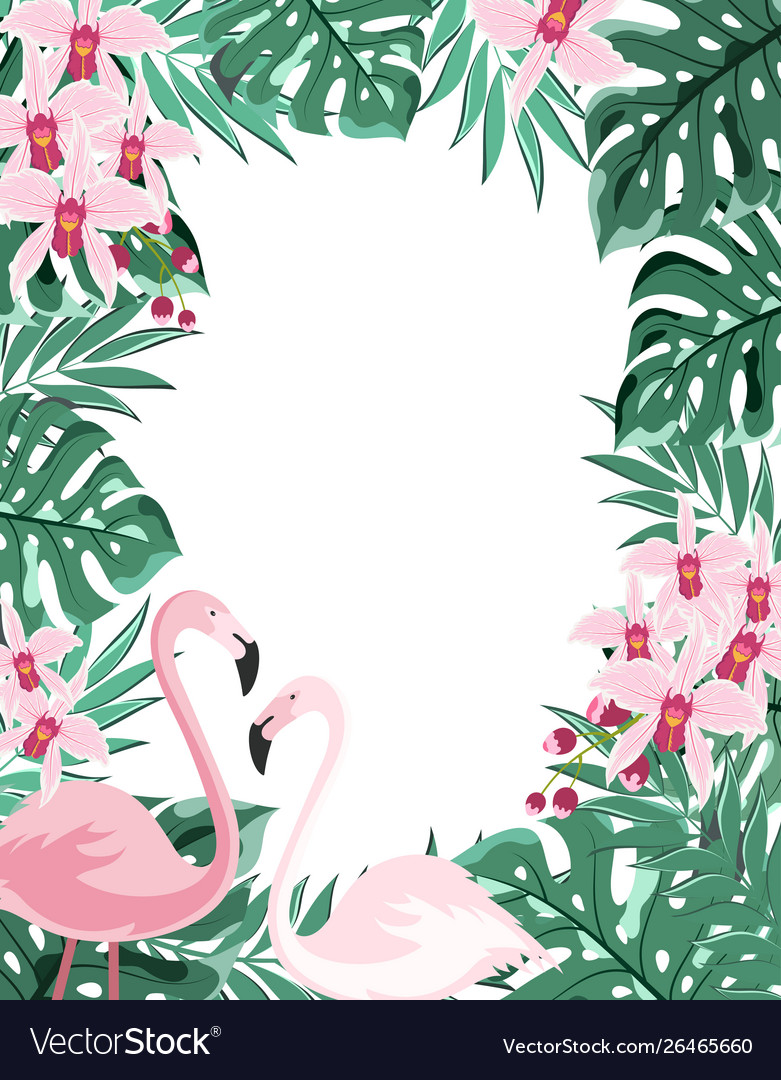 Flamingo floral frame