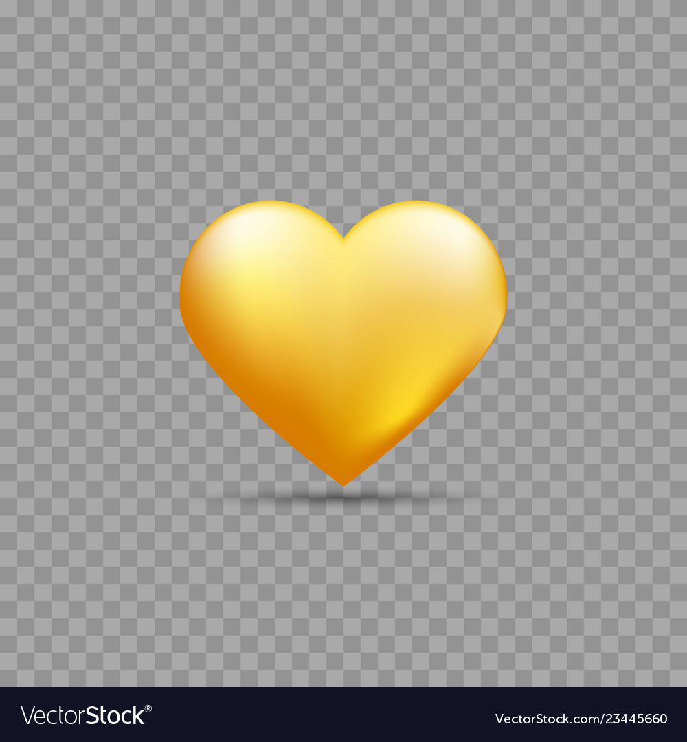 Gold heart with shadow