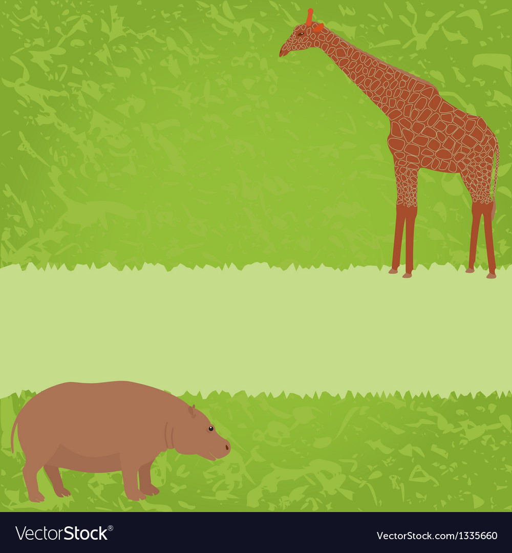 Green card with giraffe and hippo