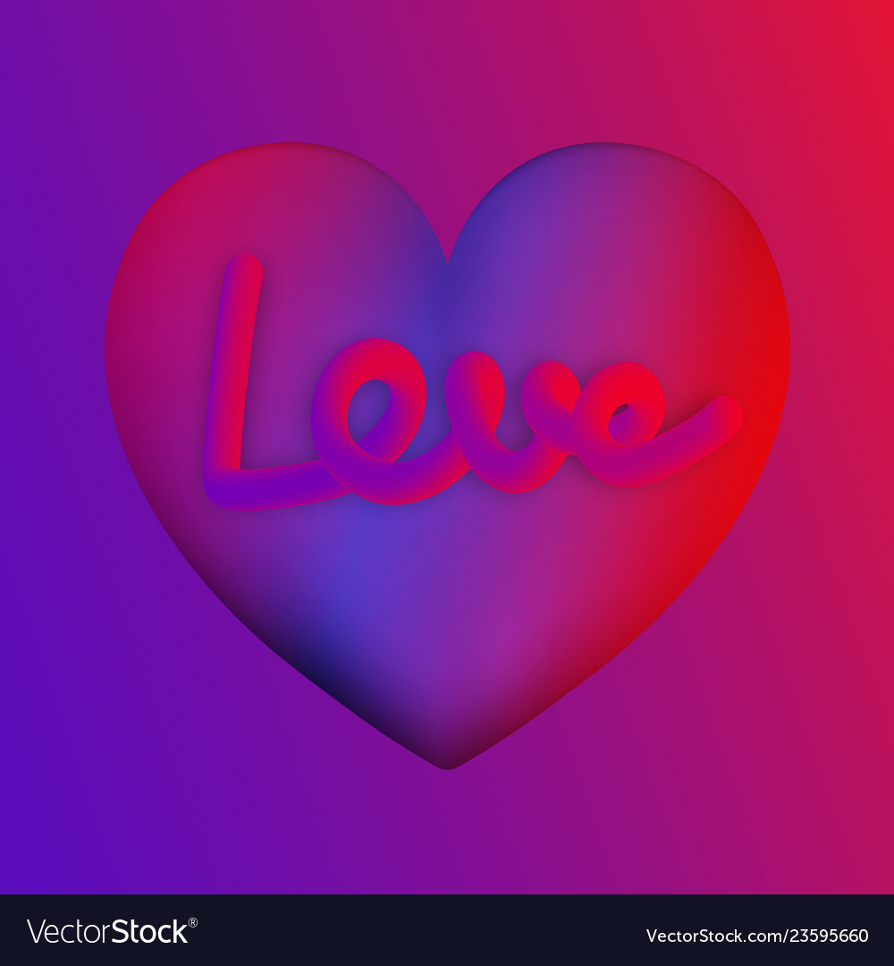 Love lettering on purple heart colorful neon