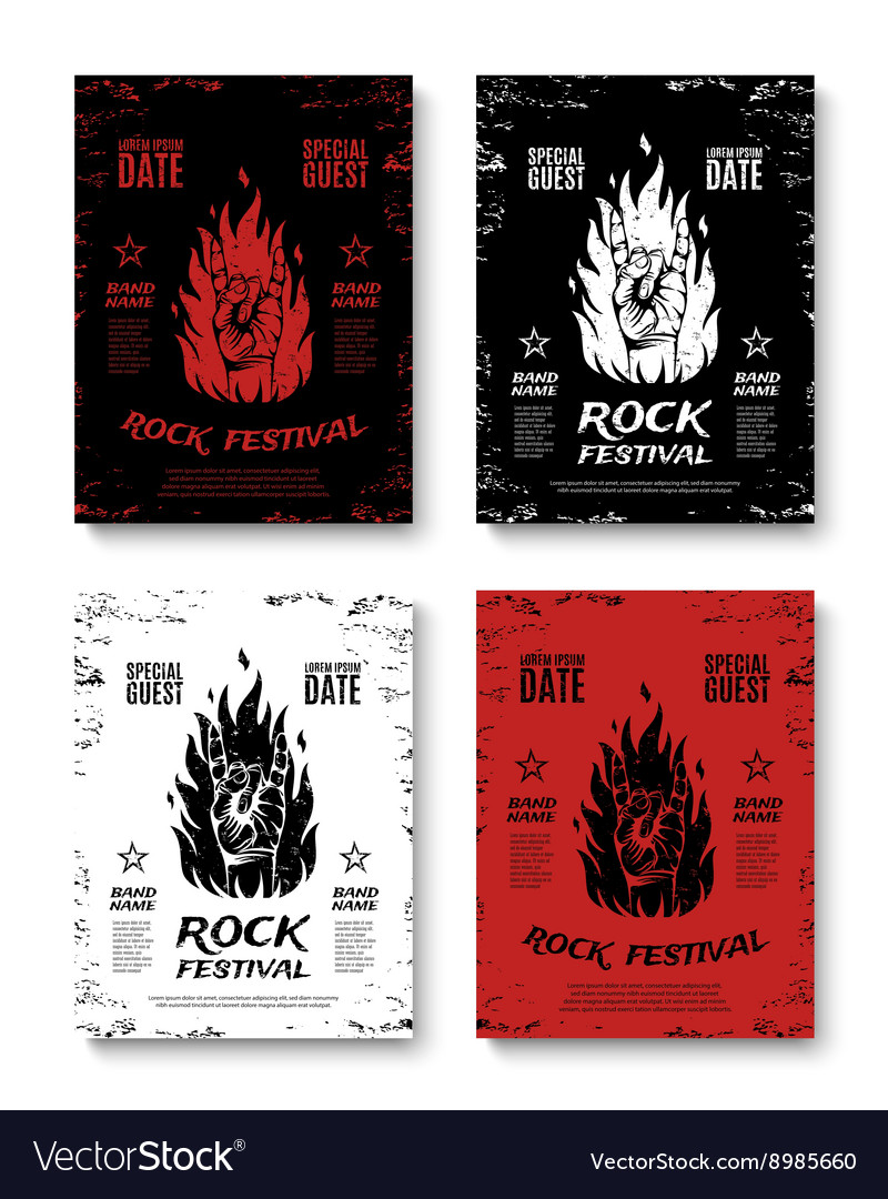 Set of four grunge rock festival posters