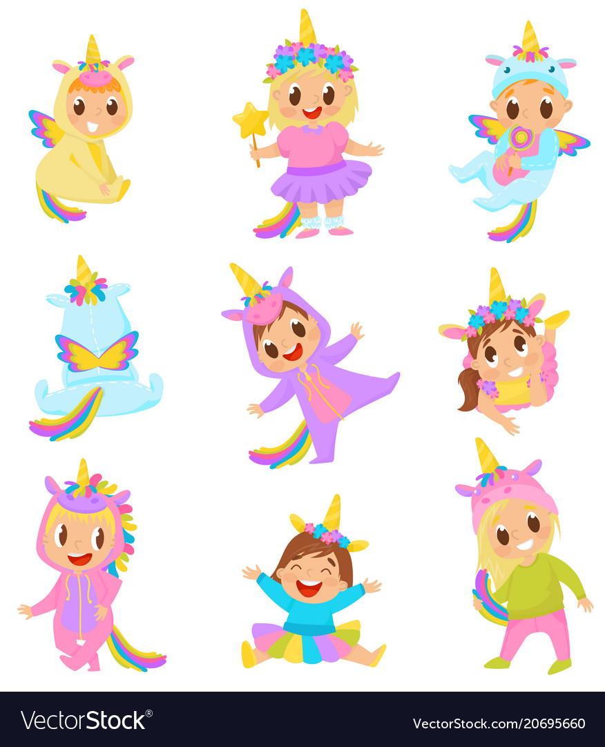 Sweet little kids in unicorn costumes set