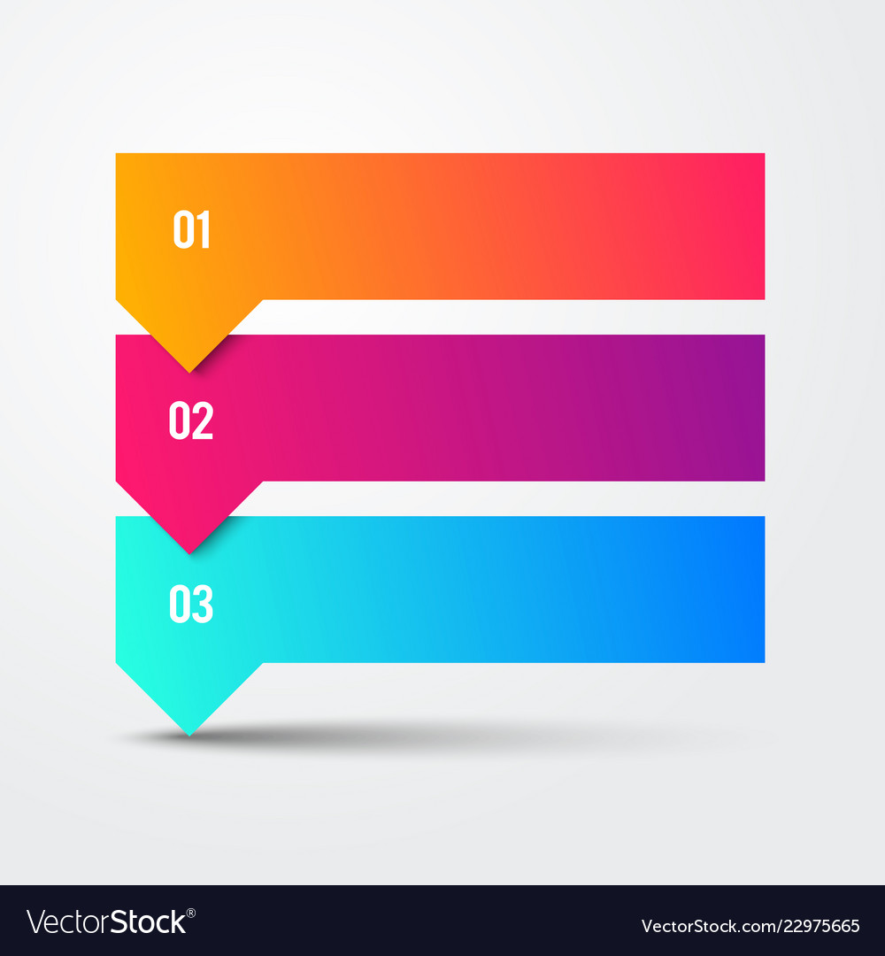 3 step arrow list colorful banners infographic