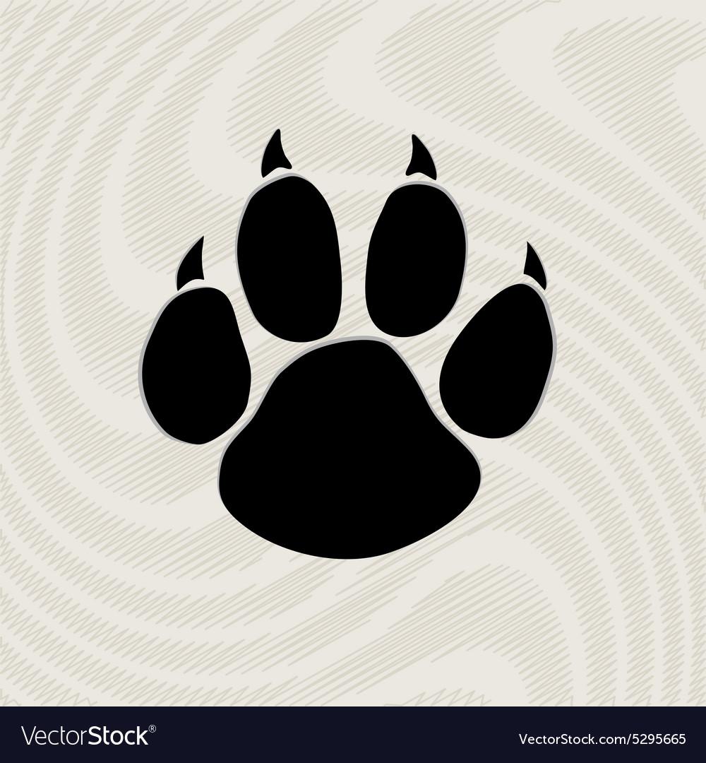Black animal paw print isolated on pattern
