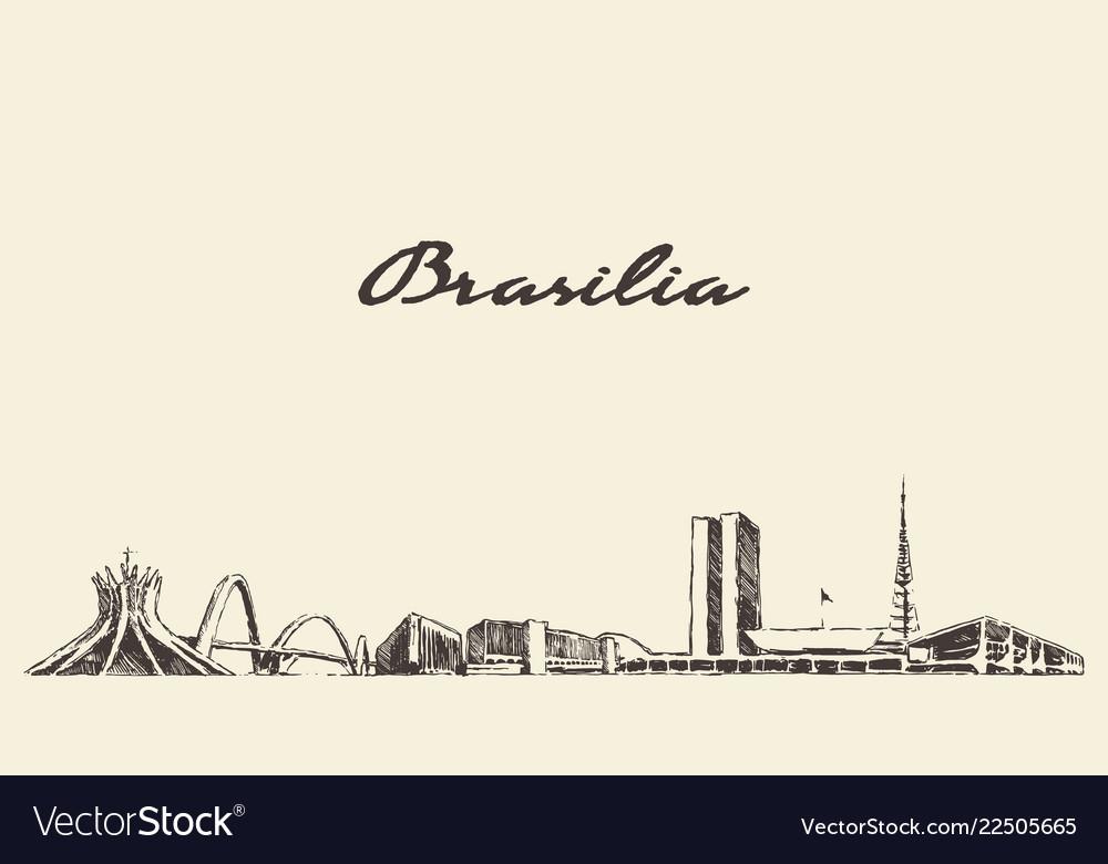 Brasilia skyline brazil city drawn sketch