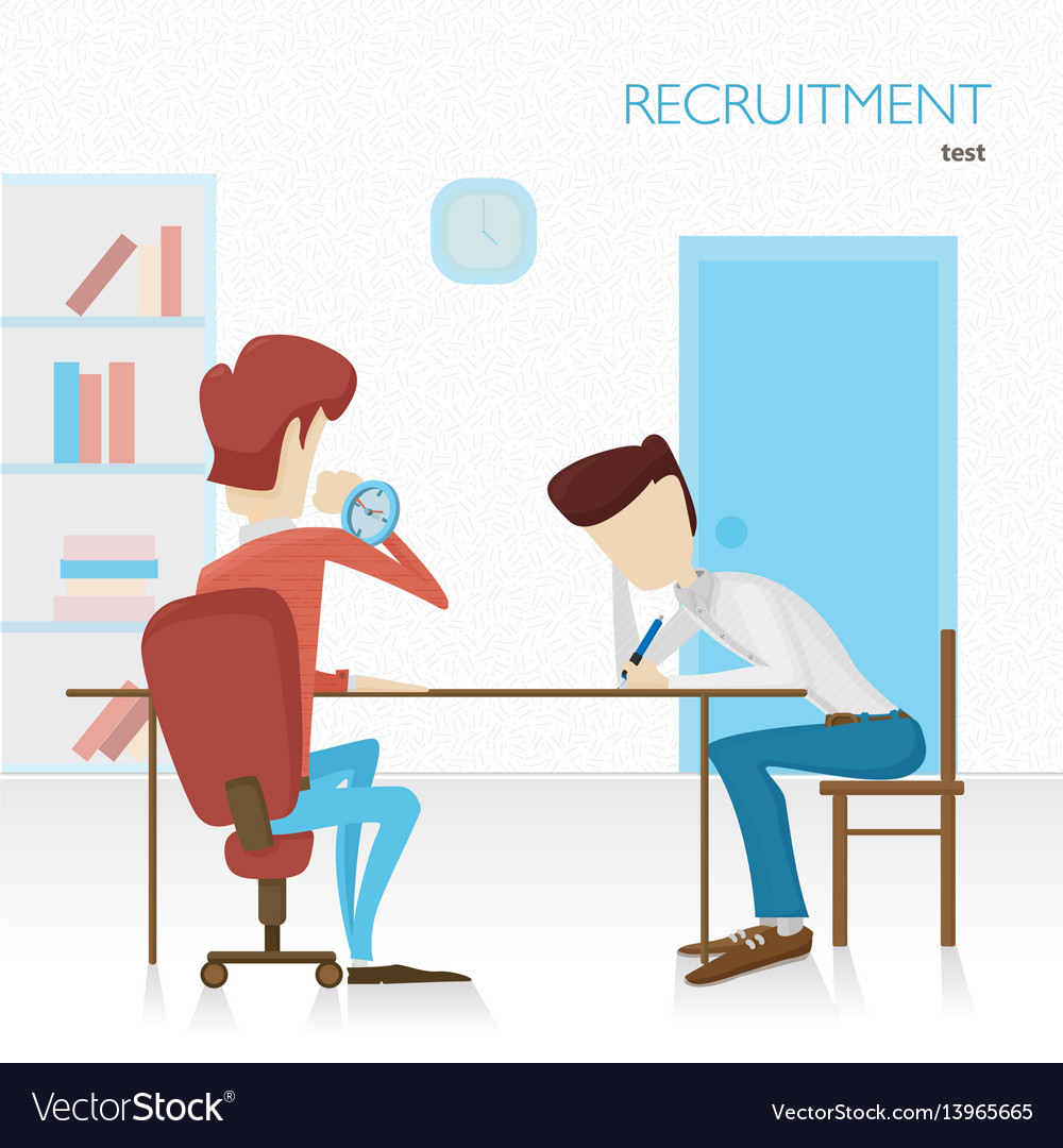 Employer arranges a survey in hiring tests tasks vector image