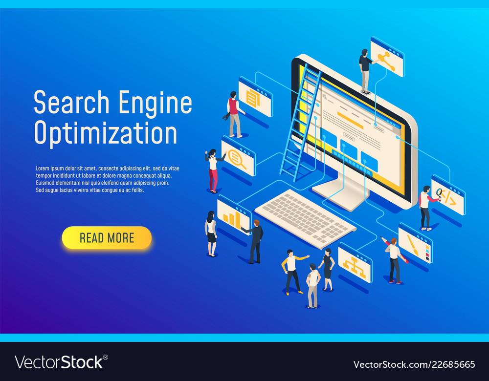 Isometric seo optimization website team computer