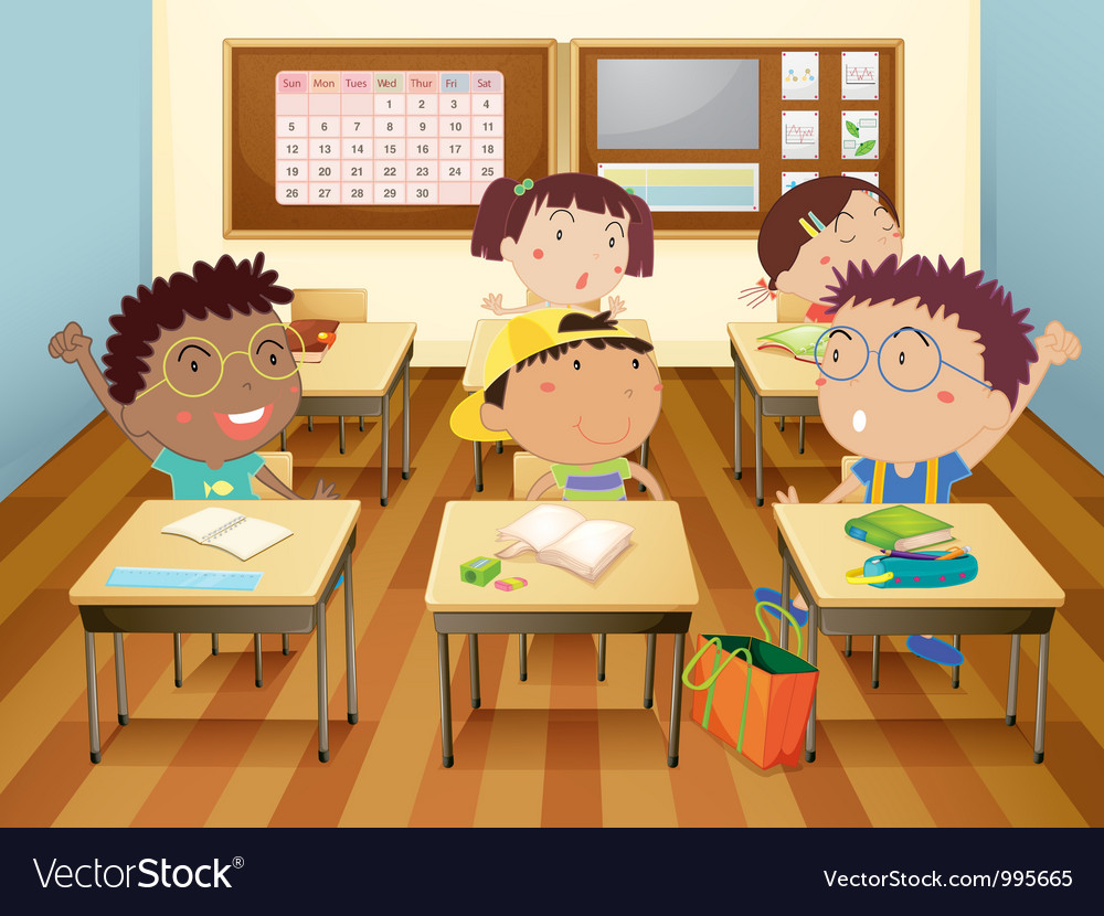 Kids at school vector image