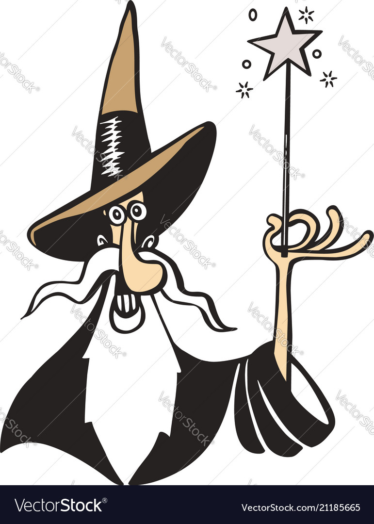 Old witch magician cartoon